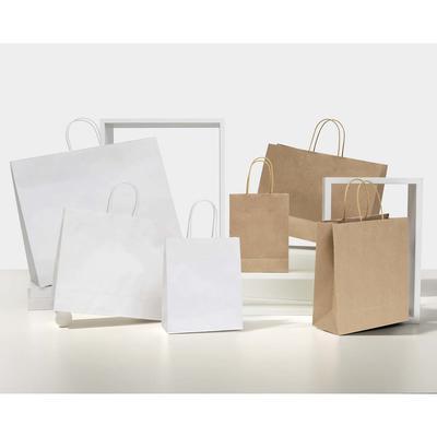 Papiertragetasche mit Baumwollkordel und Umschlag weiss Ref. 84